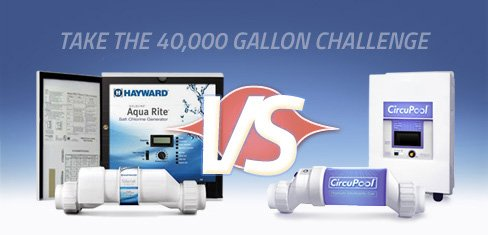 Compare Hayward Goldline Aqua Rite T15 and CircuPool Universal40 salt chlorination systems for saltwater swimming pools